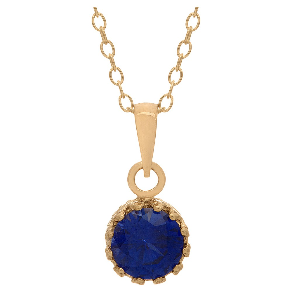 5/6 Tcw Tiara Sapphire Crown Pendant in Gold Over Silver