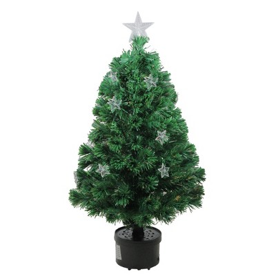Northlight 4' Prelit Artificial Christmas Tree Fiber Optic with Stars - Multicolor Light