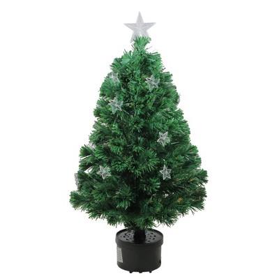 Northlight 4' Prelit Artificial Christmas Tree Fiber Optic with Stars - Multicolor Light