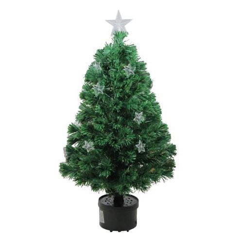 Northlight 4' Prelit Artificial Christmas Tree Fiber Optic with Stars - Multicolor Light - image 1 of 3