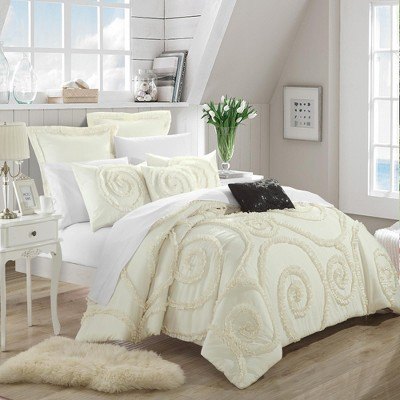 Chic Home Rosalia Ruffled Applique Comforter Bed In A Bag 7 Piece Set, Beige