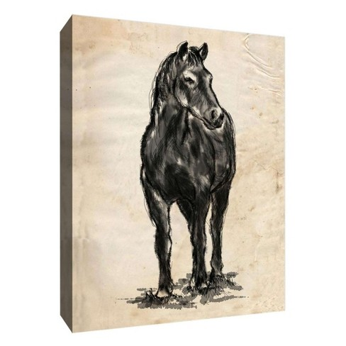 """Black Horse Decorative Canvas Wall Art 11""""x14"""" - PTM Images - image 1 of 1"""