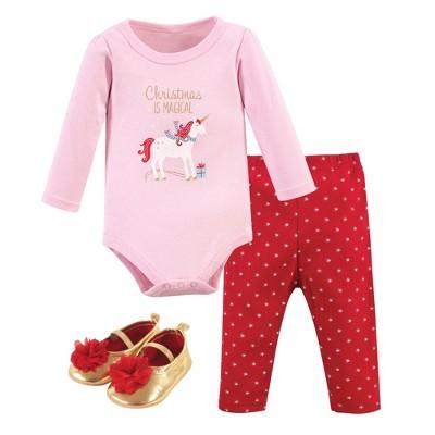 Hudson Baby Infant Girl Cotton Bodysuit, Pant and Shoe 3pc Set, Magical Christmas