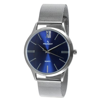 Men's Peugeot Round Slim Stainless Steel Mesh Bracelet Watch - Blue