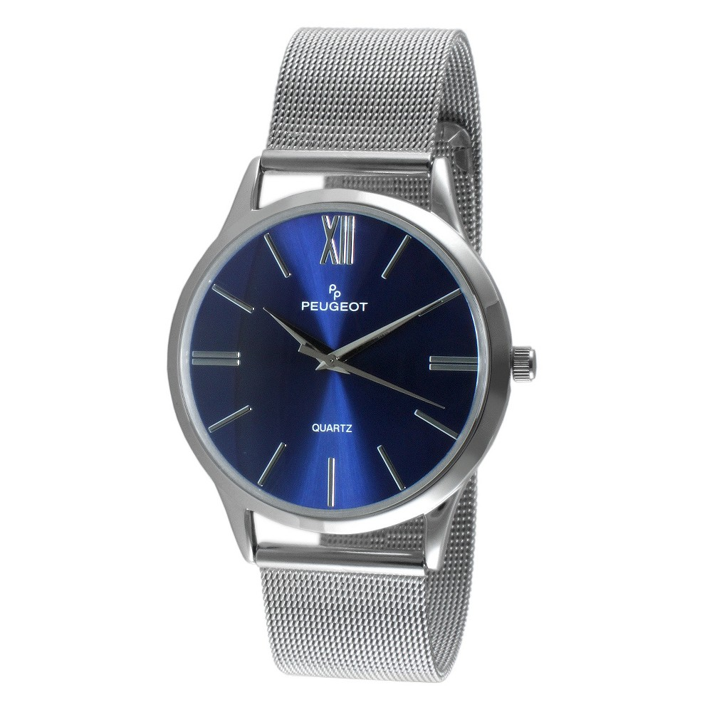 Men's Peugeot Round Slim Stainless Steel Mesh Bracelet Watch - Blue, Size:...