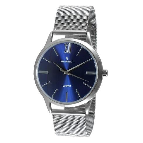Men S Peugeot Round Slim Stainless Steel Mesh Bracelet Watch Blue