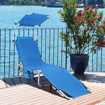 Costway Foldable Lounge Chair Outdoor Adjustable Beach Patio Pool Recliner W/Sun Shade Blue\Beige