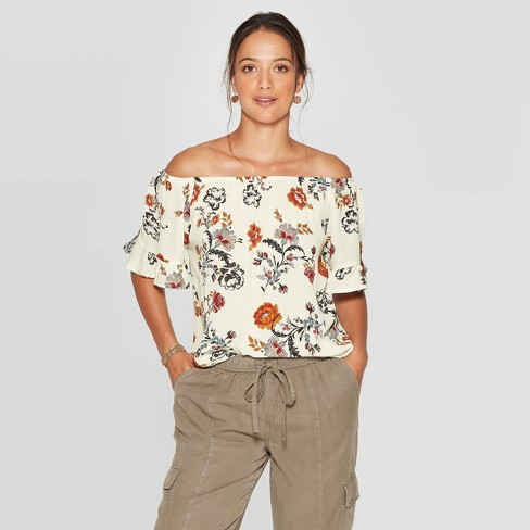 Women's Floral Print Ruffle Elbow Sleeve Off the Shoulder Blouse - Knox Rose™ - image 1 of 2