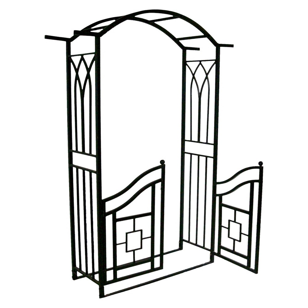 "Image of ""78"""" Steel Royal Arbor With Gate - Black"""