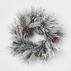 """22"""" Artificial Flocked Pine Wreath with Berries and Pine Cones Green/White - Threshold™"""