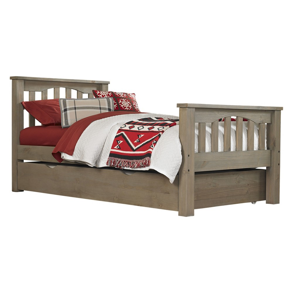 Twin Highlands Harper Panel Bed with Trundle Driftwood (Brown) - Hillsdale Furniture
