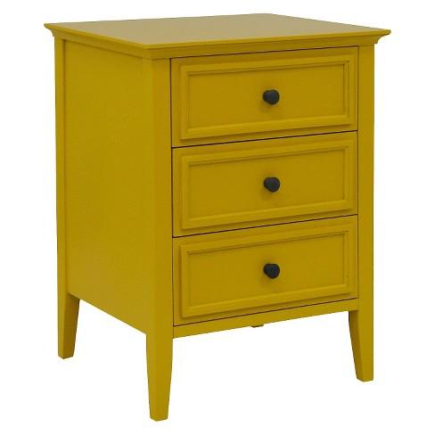 Elkton End Table Three Drawer Painted Yellow Threshold