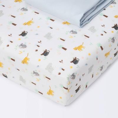 Fitted Crib Sheet Jungle - Cloud Island™ Animals/Blue 2pk
