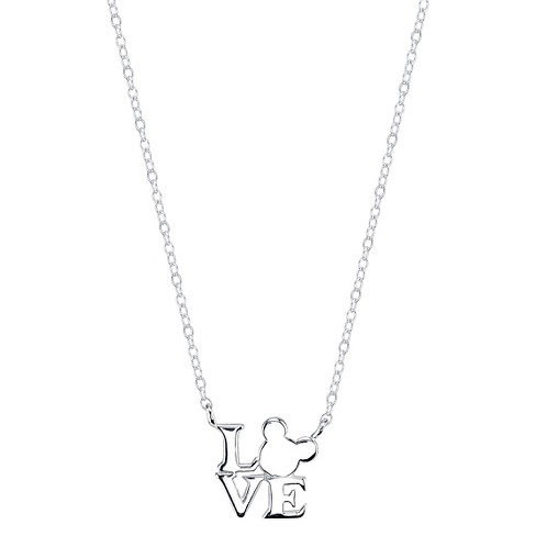 Disney® Sterling Silver 'Love' Mickey Mouse Station Necklace Silver (18.4') - image 1 of 1