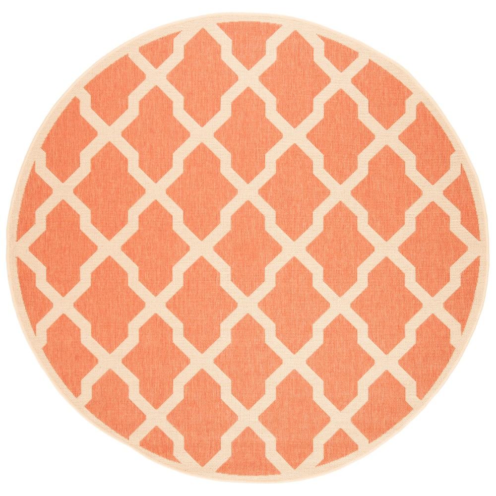 6'7 Geometric Loomed Round Area Rug Rust/Cream - Safavieh, Red