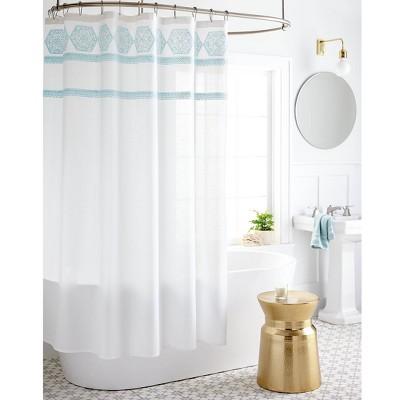 Medallion Sheer Embroidery Shower Curtain White/Aqua - Threshold™