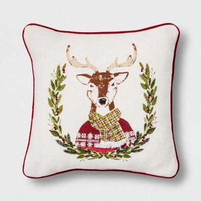 Reindeer With Scarf Mini Square Throw Pillow - Threshold™
