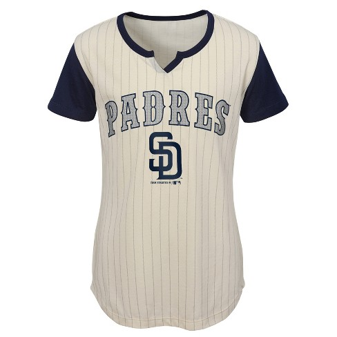 watch 5fb32 61cbd MLB San Diego Padres Girls' In the Game Cream Pinstripe T-Shirt