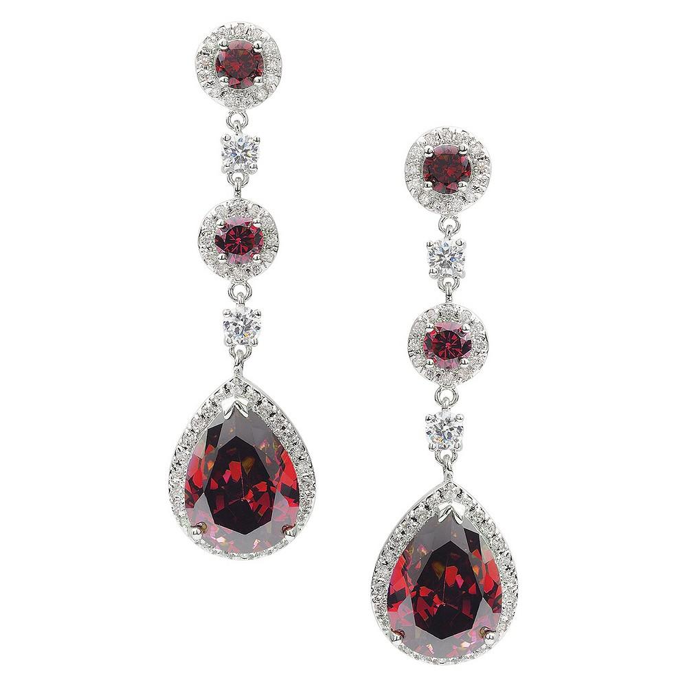 10 7/8 CT. T.W. Journee Collection Pear Cut CZ Basket Set Drop Earrings in Brass - Red