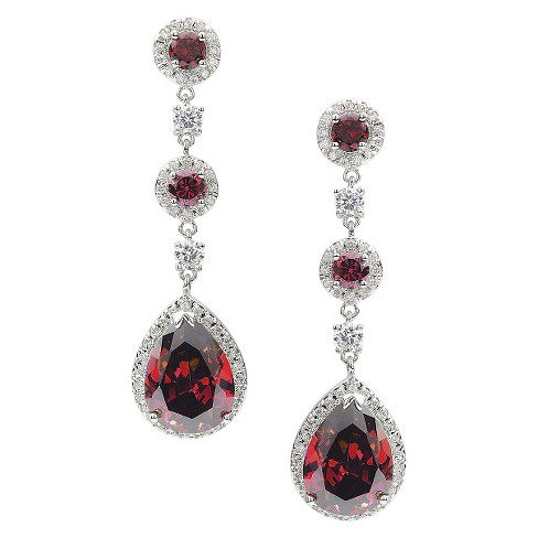 10 7/8 CT. T.W. Journee Collection Pear Cut CZ Basket Set Drop Earrings in Brass - Red - image 1 of 3