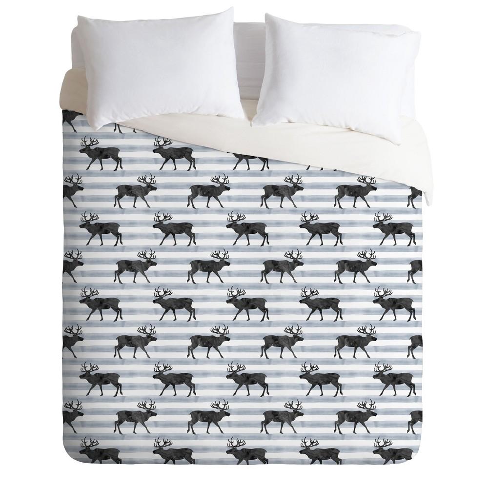 Full/Queen Little Arrow Design Co Nordic Reindeer Duvet Cover Set Blue - Deny Designs
