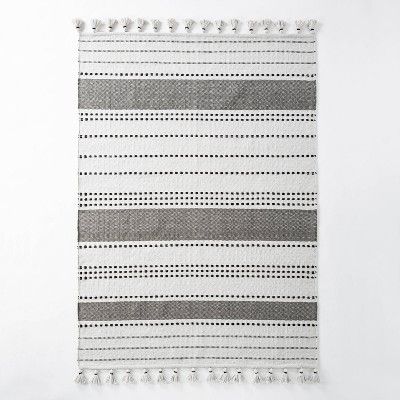 5' x 7' Indoor/Outdoor Neutral Stripes Area Rug Gray - Hearth & Hand™ with Magnolia