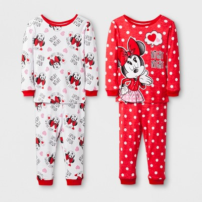 Baby Girls' Disney Mickey Mouse & Friends Minnie Mouse 4pc Pajama Set - Red 12M