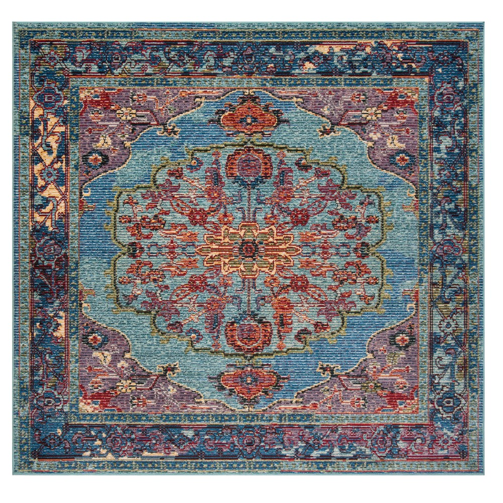 Blue Floral Loomed Square Area Rug 7'X7' - Safavieh, Purple Blue