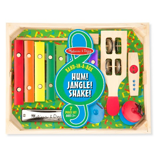 Melissa & Doug Band-in-a-Box Hum! Jangle! Shake! - 7-Piece Musical Instrument Set image number null