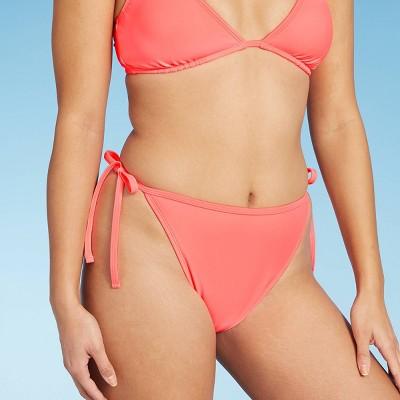 Juniors' High Leg Mid Waist String Bikini Bottom - Xhilaration™ Bright Pink