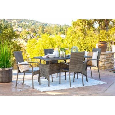 Ariana 5pc Outdoor Wicker Dining Set - Dark Gray - Coaster