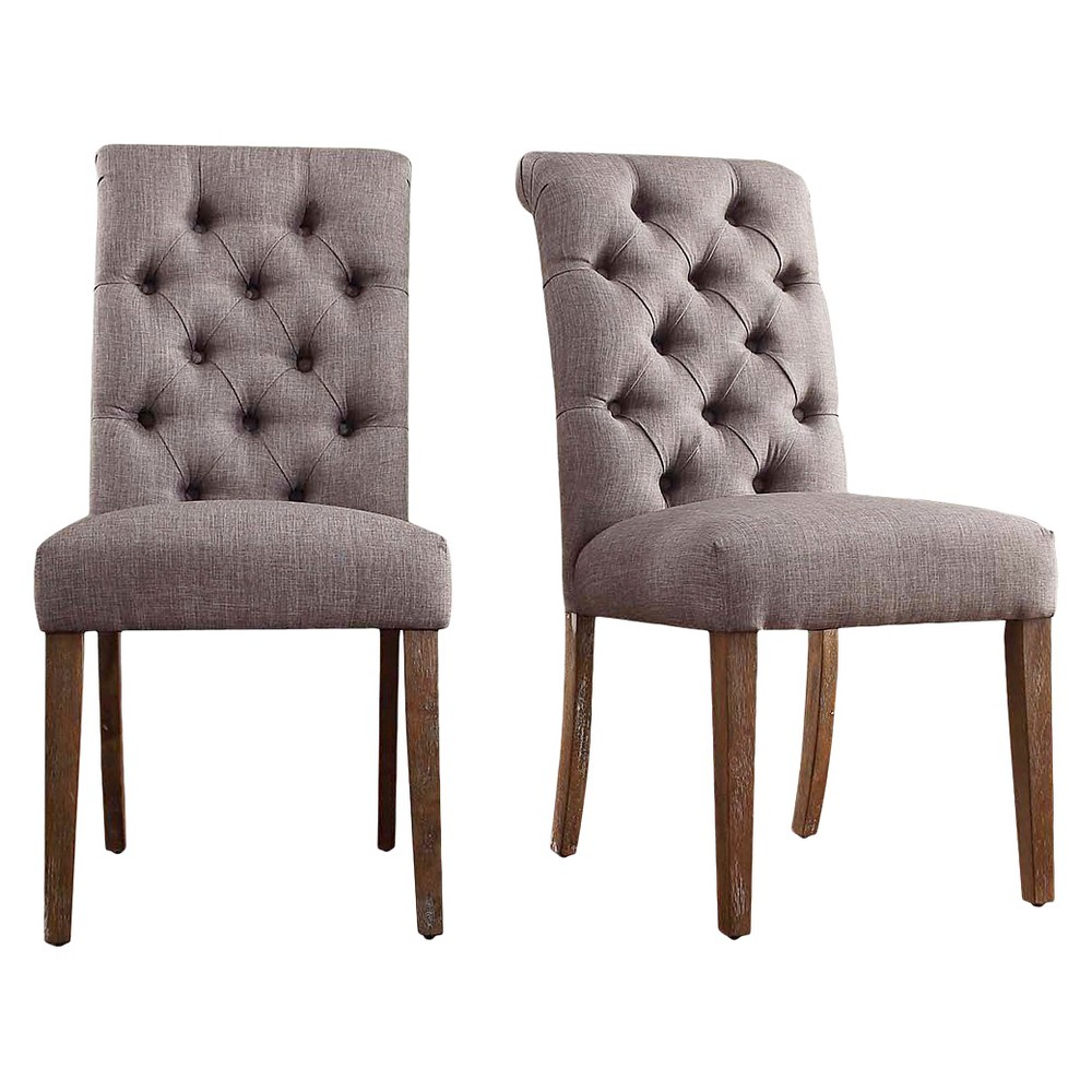 Gramercy Button Tufted Dining Chair Wood/Smoke (Grey) (Set of 2) - Inspire Q