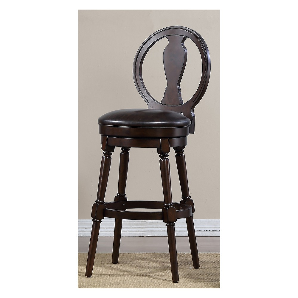 24 Candace Bar Height Swivel Stool Walnut Brown - Foremost