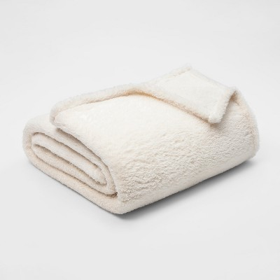 King Fuzzy Bottom Printed Blanket Sour Cream - Threshold™
