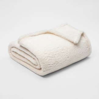Full/Queen Fuzzy Bottom Printed Blanket Sour Cream - Threshold™