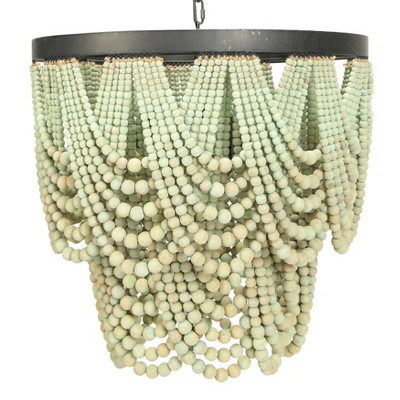 Metal Chandelier with Draped Wood Beads - 3R Studios