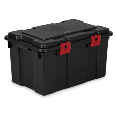 Sterilite 16 Gal Lockable Utility Storage Trunk   Black