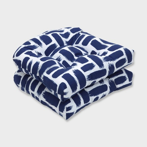 2pk Baja Nautical Wicker Outdoor Seat Cushions Blue - Pillow Perfect - image 1 of 1