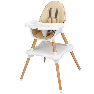 Babyjoy 5-in-1  Baby High Chair Infant Wooden Convertible Chair w/5-Point Seat Belt GrayKhaki