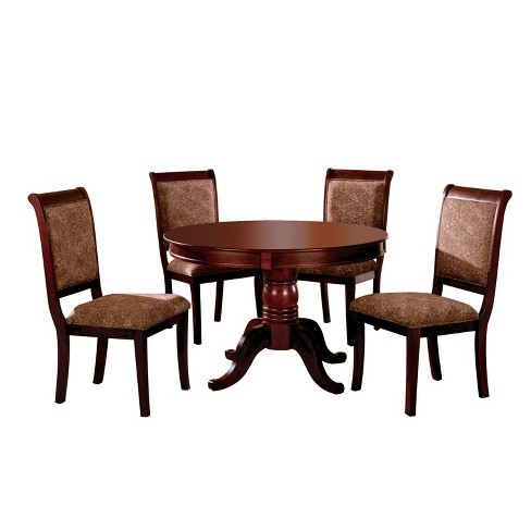 5pc Bielsburground Pedestal Dining Table Set Red Homes Inside Out Target