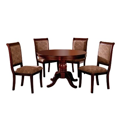 Sun U0026 Pine 5pc Round Pedestal Dining Table Set Wood/Antique Cherry