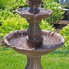 """38""""H Polyresin and Fiberglass 2-Tier Curved Plinth Outdoor Water Fountain - Sunnydaze Decor - image 2 of 4"""