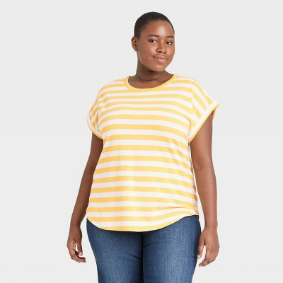 Women's Plus Size Striped Round Neck Cuffed T-Shirt - Ava & Viv™