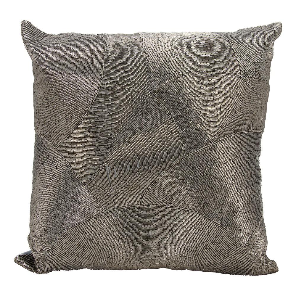 Image of Metallic Pewter Mosaic Throw Pillow - Mina Victory