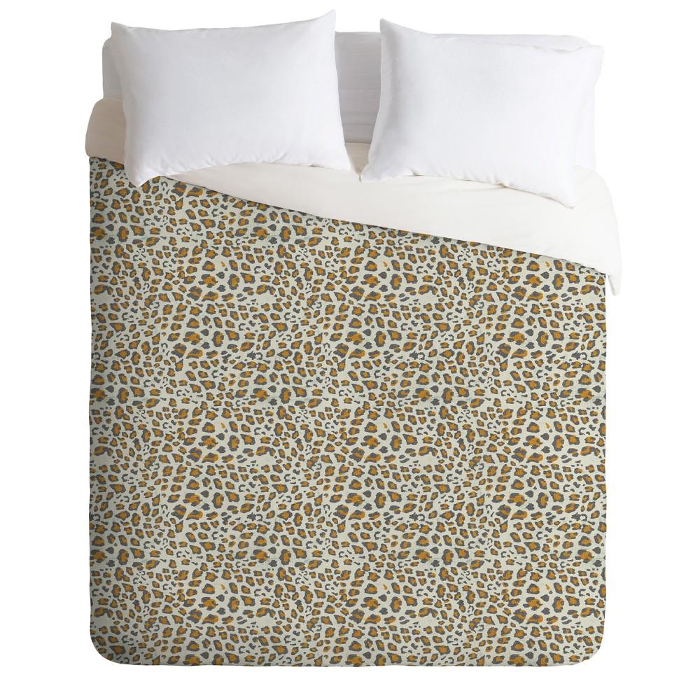 Full/Queen Holli Zollinger Deco Leopard Print Duvet Set Brown - Deny Designs