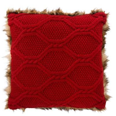 "Luccia Faux Fur Pillow - Brown/Red Knit - 20"" X 20""  - Safavieh"