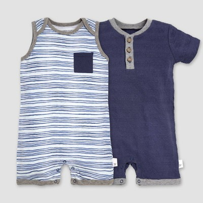 Burt's Bees Baby® Boys' 2pk On the Road Organic Cotton Rompers - Indigo 24M