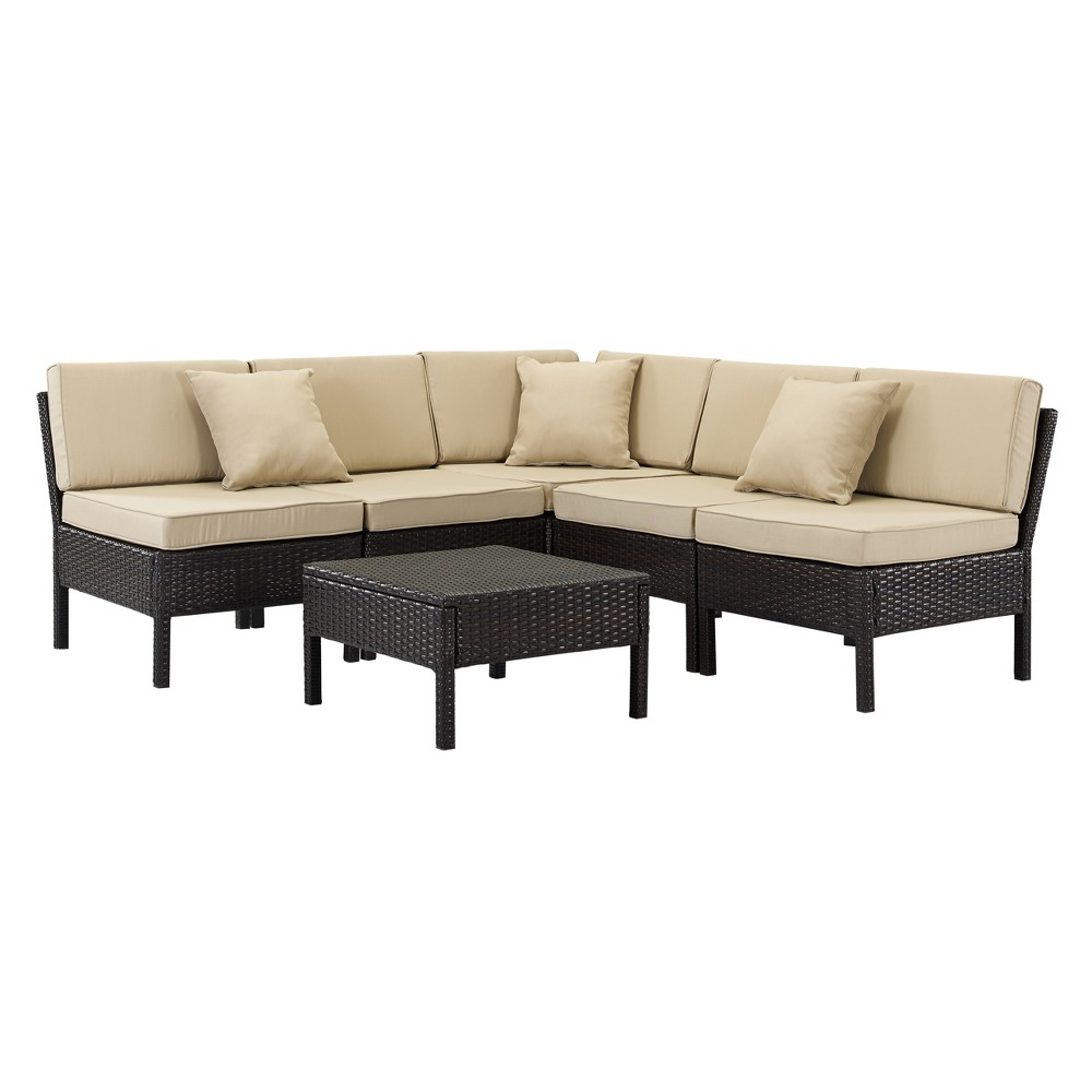 Image of 6pc Florence Wicker Lounge Set Brown/Tan - DH Casual
