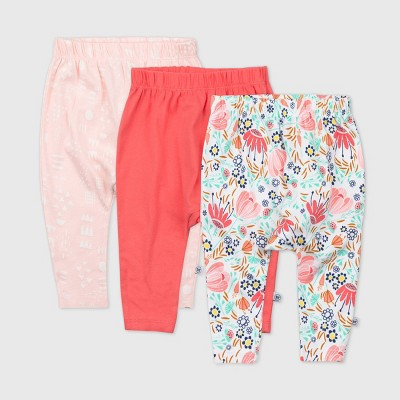 Honest Baby Girls' 3pk Flower Power Organic Cotton Footed Harem Pants - 3-6M