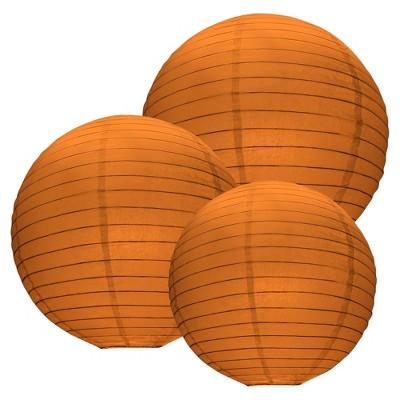 """6ct Size 12"""" 14"""" 16"""" Paper Lanterns Orange"""